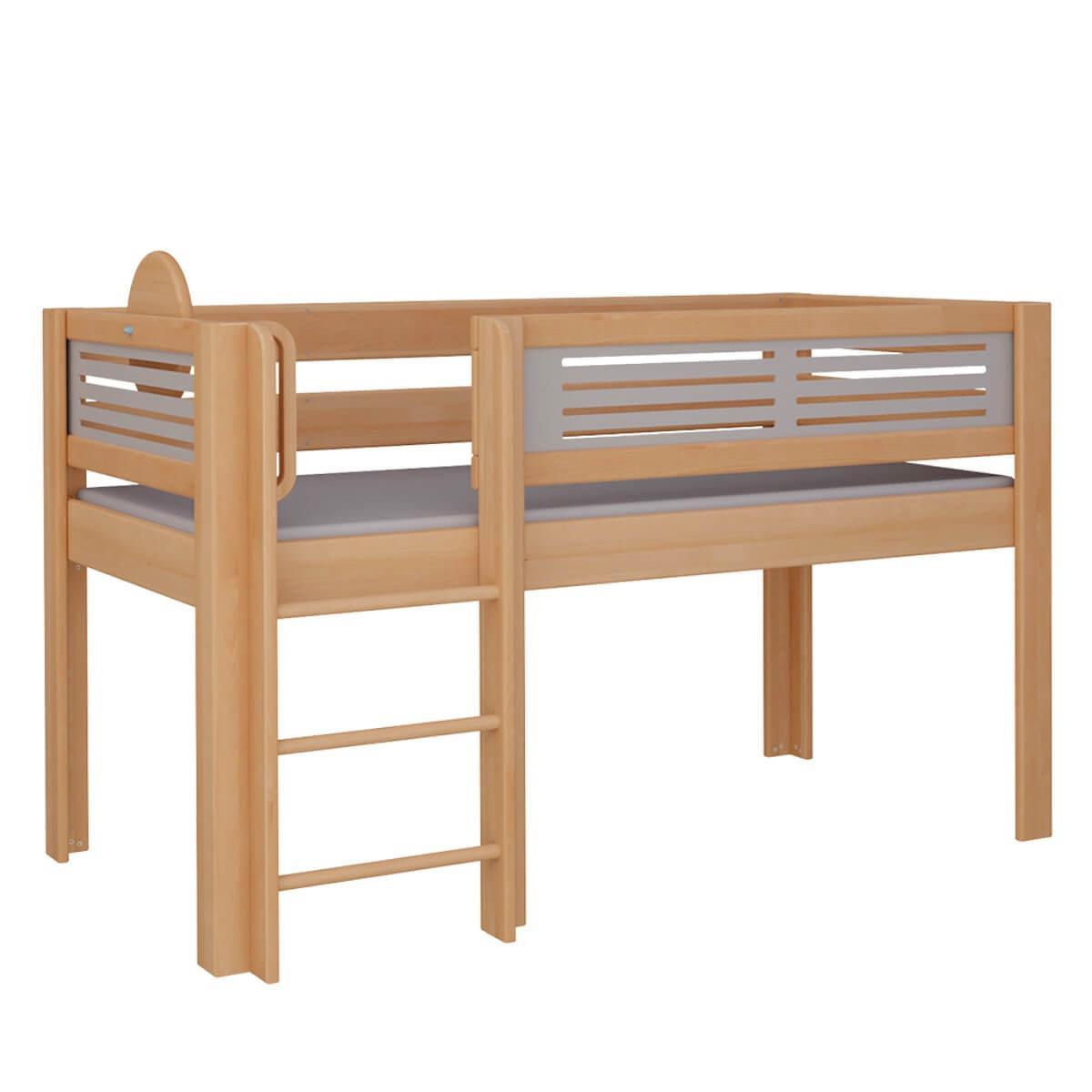 Tatü halbhohes Bett mit Leiter DELUXE De Breuyn natur geölt Füllungen grau