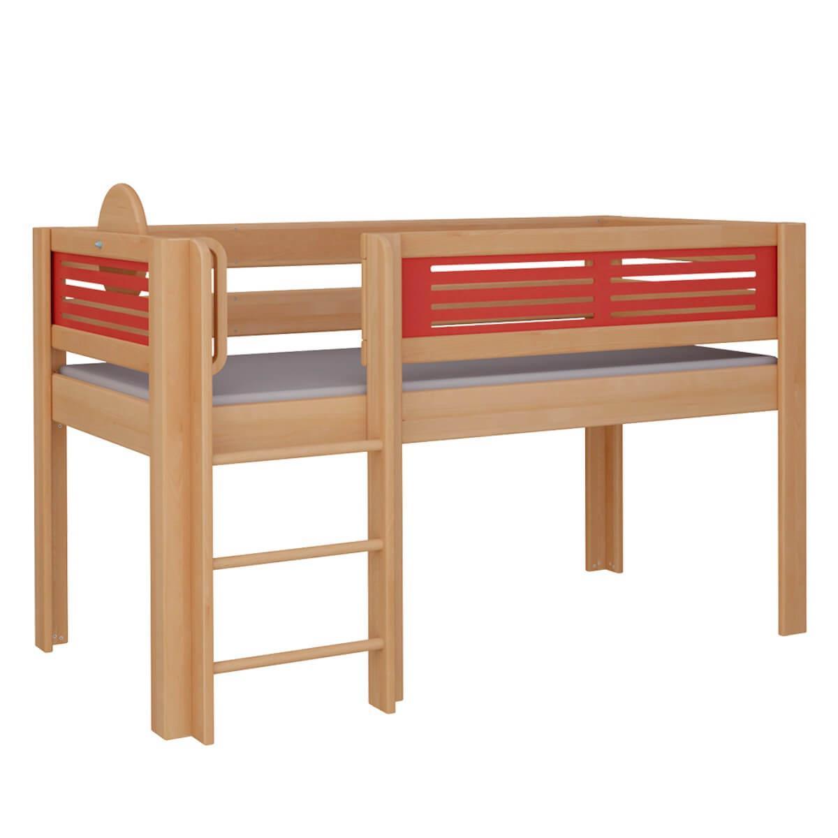 Tatü halbhohes Bett mit Leiter DELUXE De Breuyn natur geölt Füllungen rot