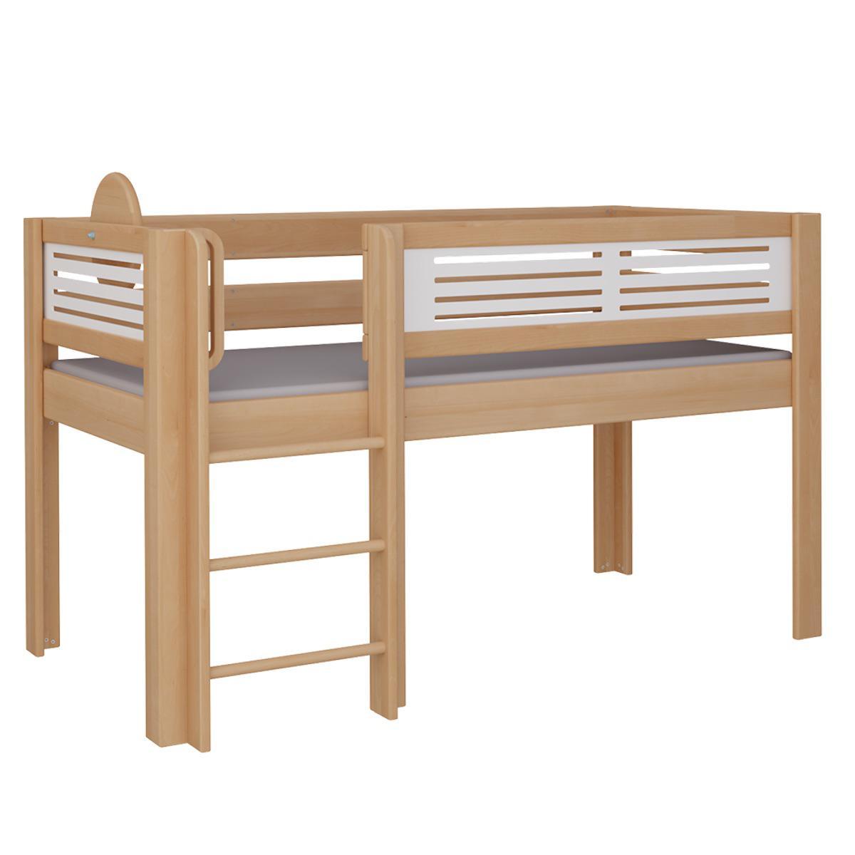 Tatü halbhohes Bett mit Leiter DELUXE De Breuyn natur geölt Füllungen weiß