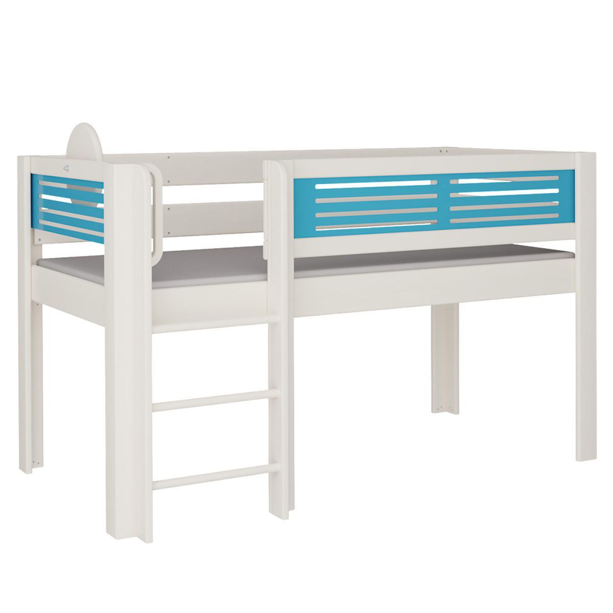 Tatü halbhohes Bett mit Leiter DELUXE De Breuyn weiß Füllungen blau