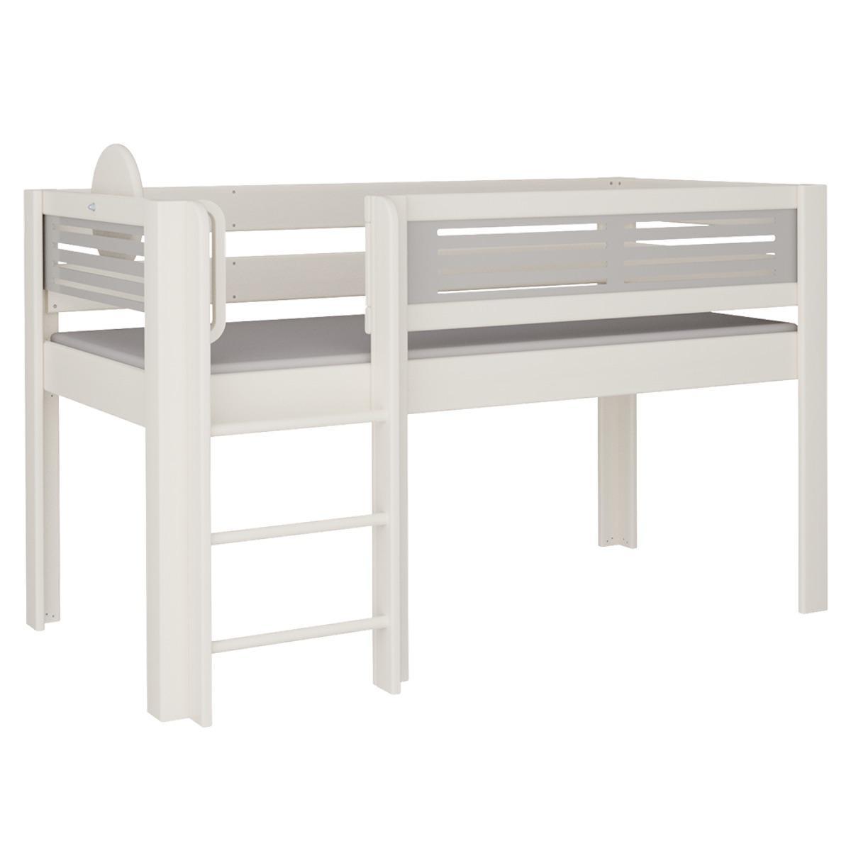 Tatü halbhohes Bett mit Leiter DELUXE De Breuyn weiß Füllungen grau