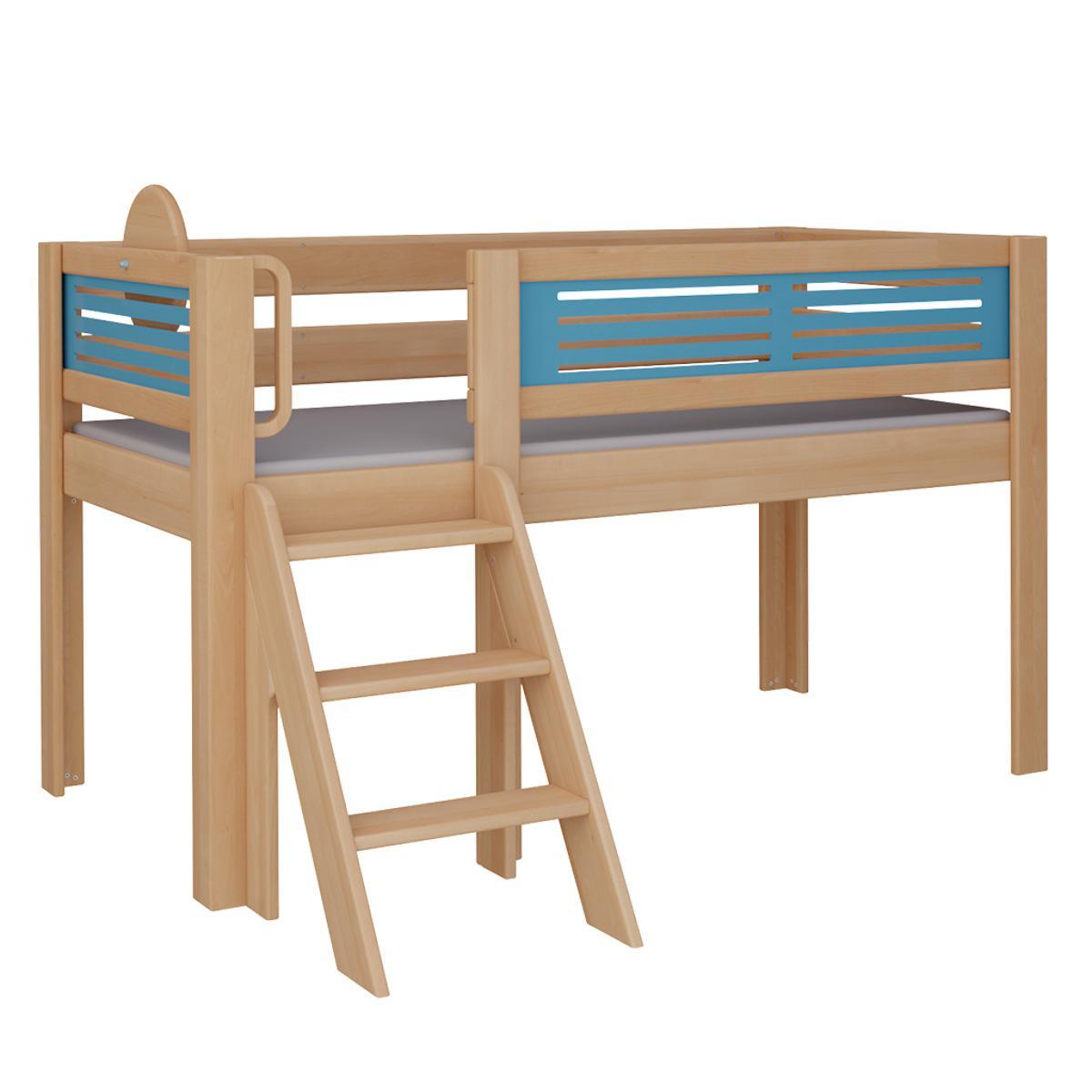 Tatü halbhohes Bett mit Treppe DELUXE De Breuyn natur geölt Füllungen blau