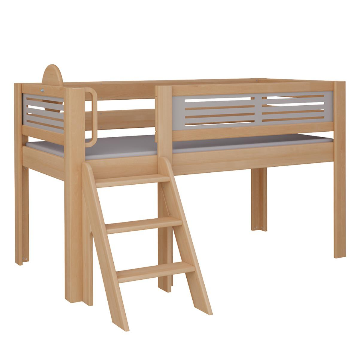 Tatü halbhohes Bett mit Treppe DELUXE De Breuyn natur geölt Füllungen grau