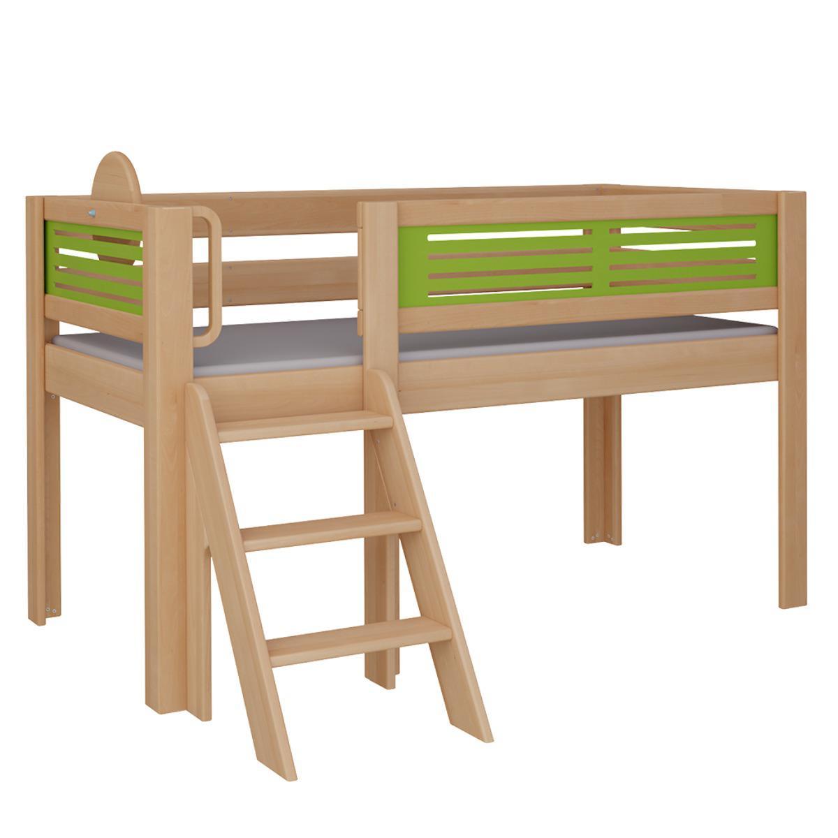 Tatü halbhohes Bett mit Treppe DELUXE De Breuyn natur geölt Füllungen grün