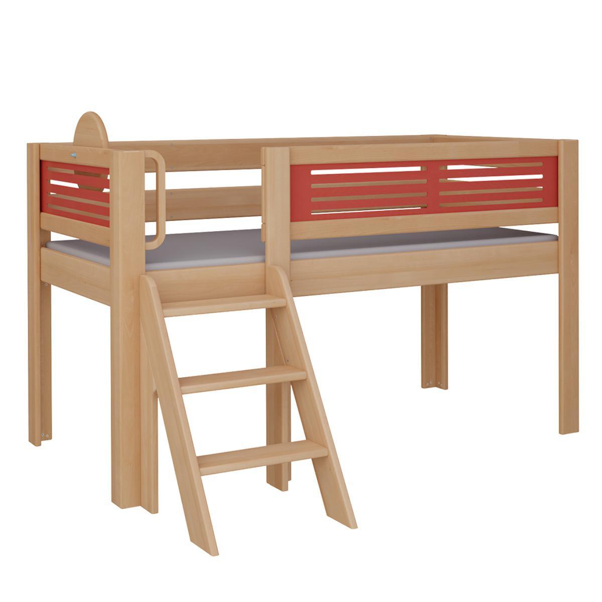 Tatü halbhohes Bett mit Treppe DELUXE De Breuyn natur geölt Füllungen rot