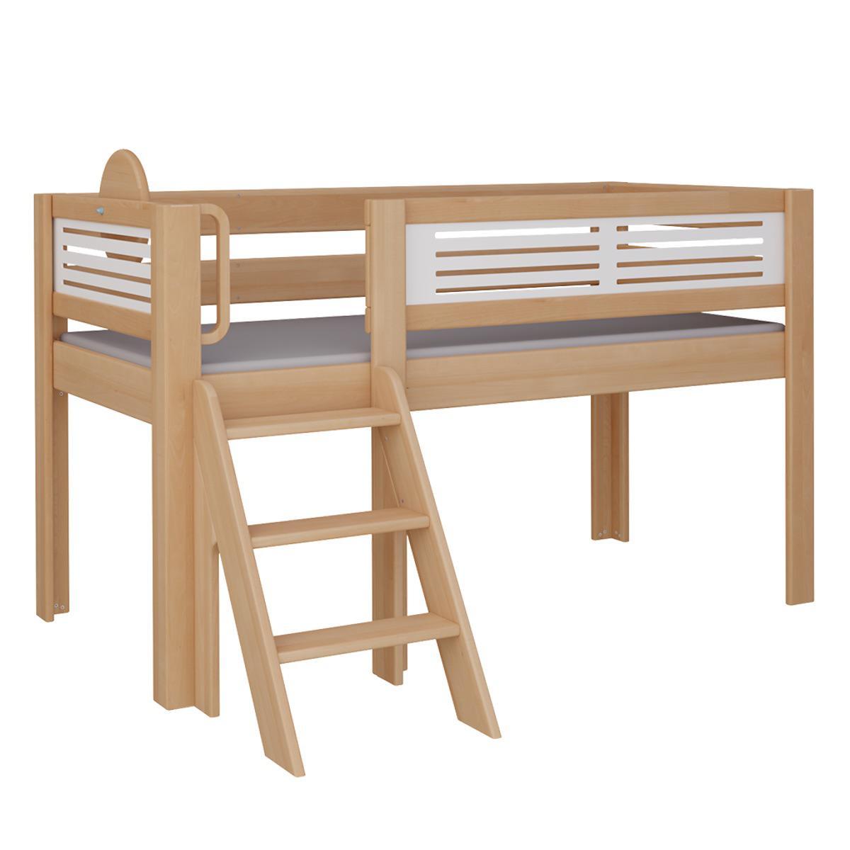 Tatü halbhohes Bett mit Treppe DELUXE De Breuyn natur geölt Füllungen weiß