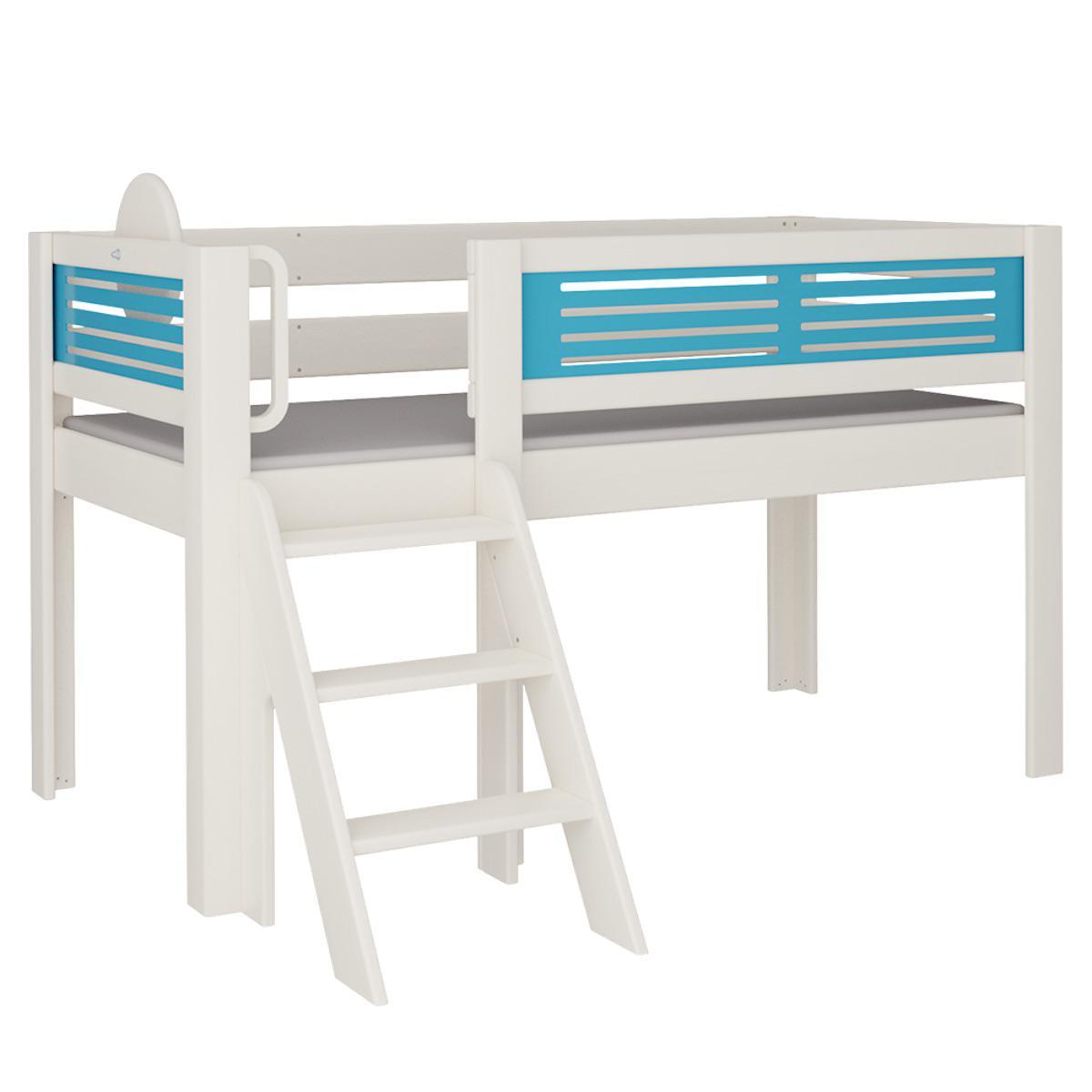 Tatü halbhohes Bett mit Treppe DELUXE De Breuyn weiß Füllungen blau