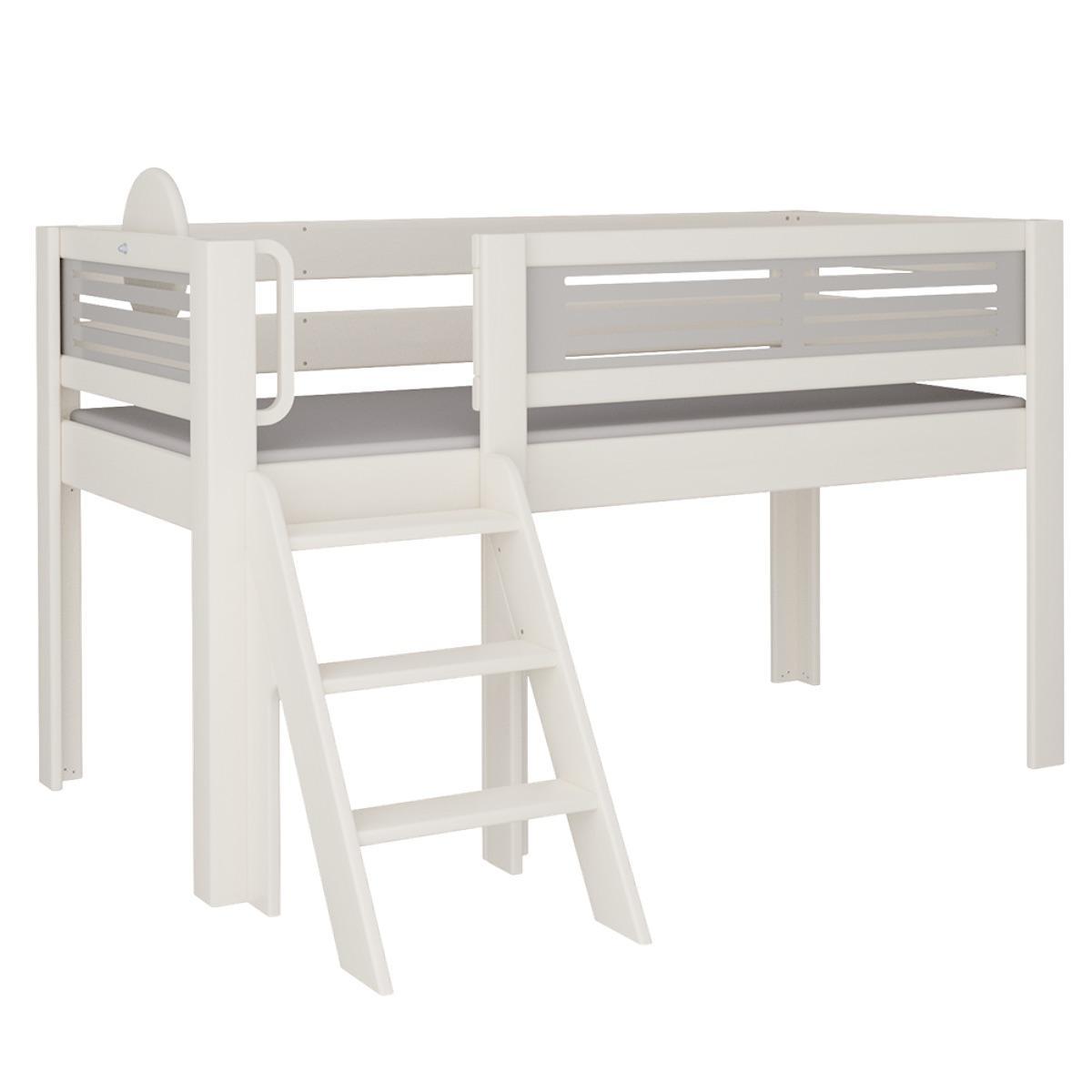 Tatü halbhohes Bett mit Treppe DELUXE De Breuyn weiß Füllungen grau