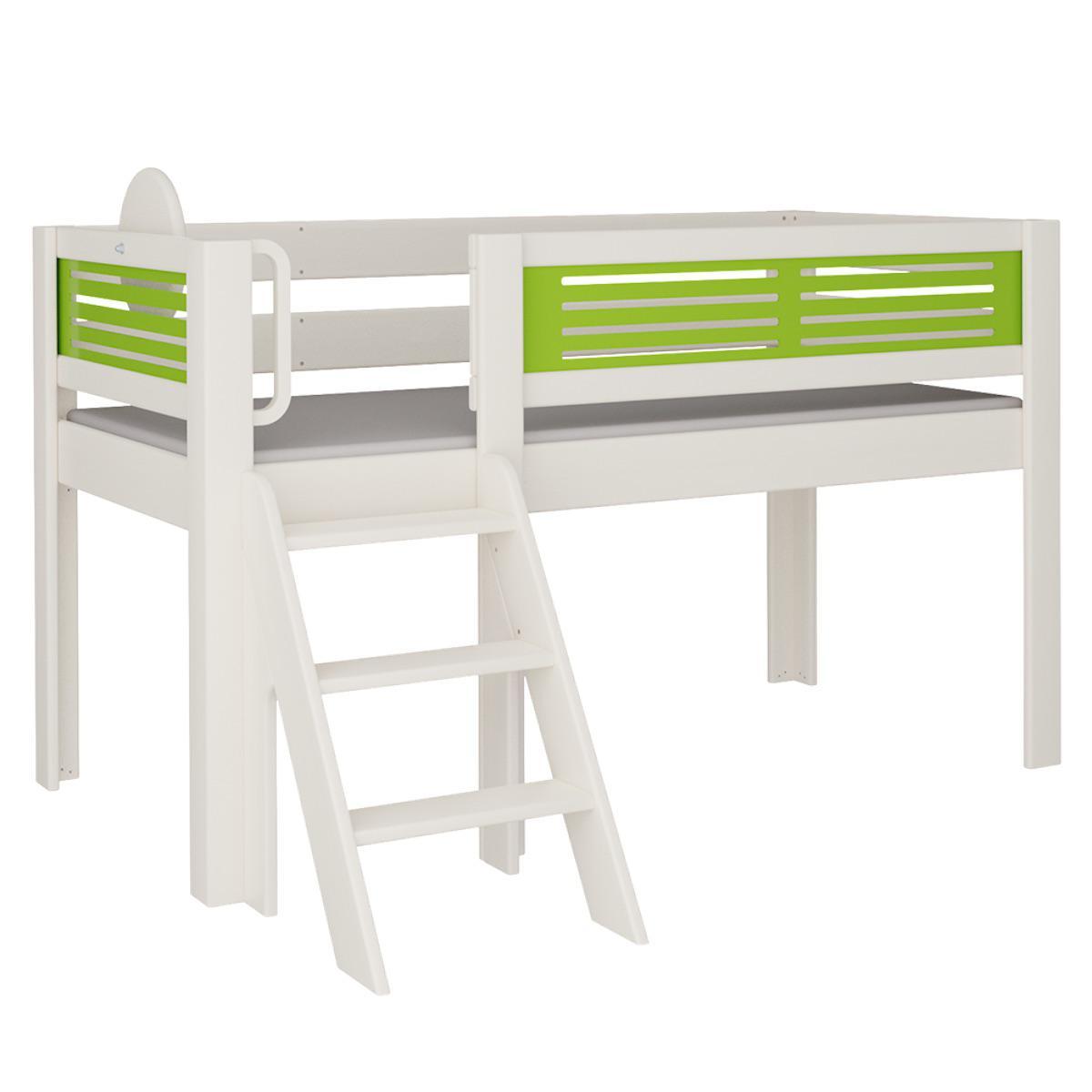 Tatü halbhohes Bett mit Treppe DELUXE De Breuyn weiß Füllungen grün