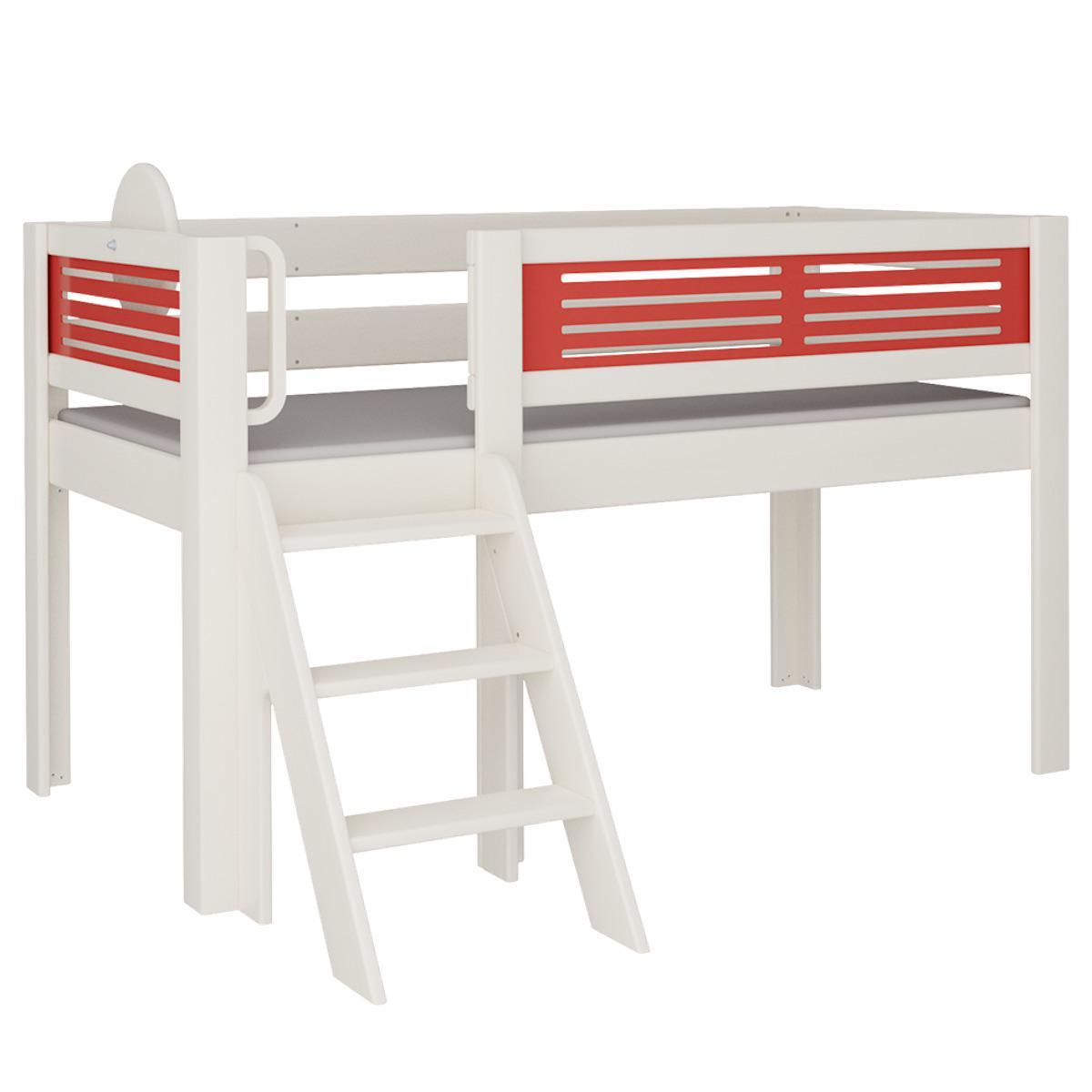 Tatü halbhohes Bett mit Treppe DELUXE De Breuyn weiß Füllungen rot