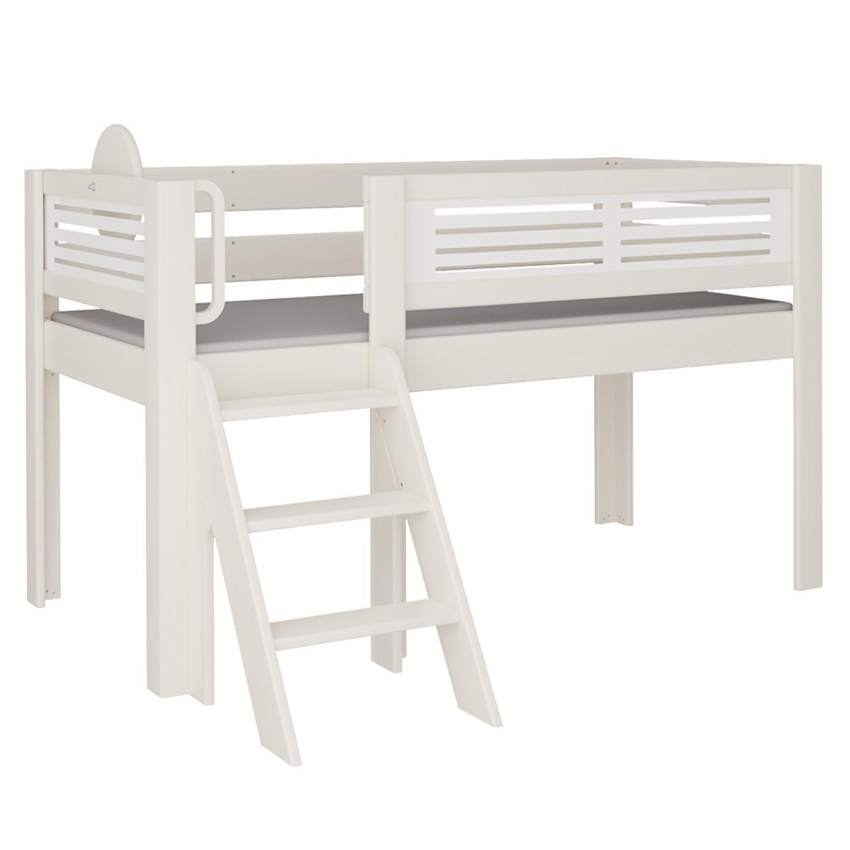 Tatü halbhohes Bett mit Treppe DELUXE De Breuyn weiß Füllungen weiß
