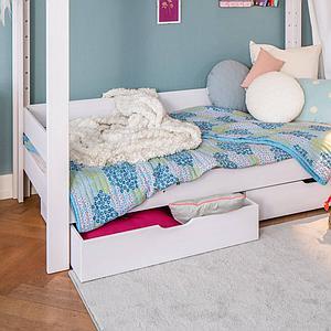 Umrahmung 2te-Liegefläche  Etagenbett 90x200cm DESTYLE Debreuyn Buche massiv weiß gebeizt-lackiert