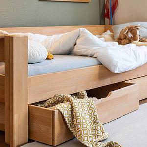Unterbett-Bettkasten halbe Bettbreite auf Rollen DESTYLE de Breuyn Buche massiv-natur geölt