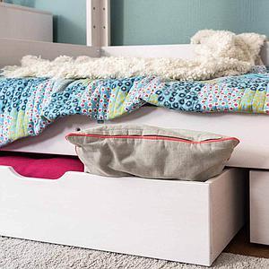 Unterbett-Bettkasten halbe Bettbreite auf Rollen DESTYLE de Breuyn Buche massiv weiß gebeizt-lackiert