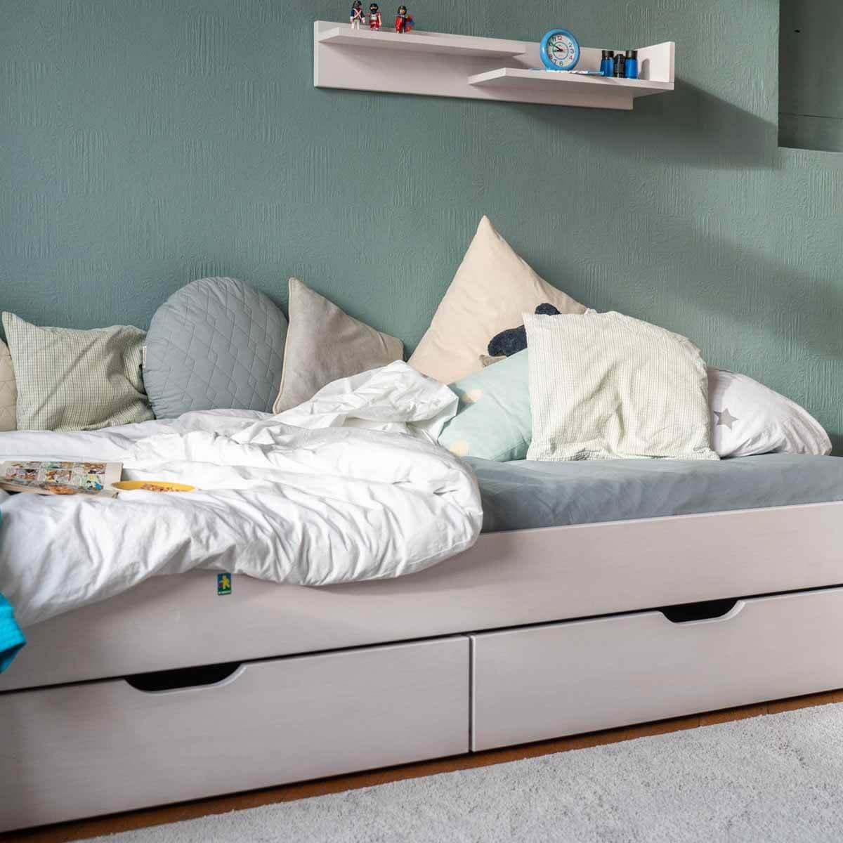 Unterbett-Bettkasten halbe Bettbreite auf Rollen DESTYLE Debreuyn Buche massiv weiß gebeizt-lackiert