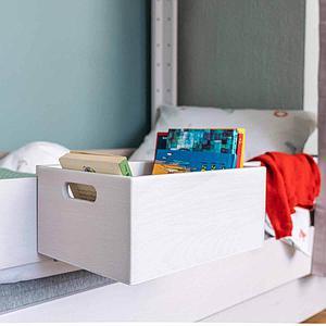 Utensilienbox klein-einhängbar Bettzusatz DESTYLE de Breuyn, Buche massiv weiß gebeizt-lackiert