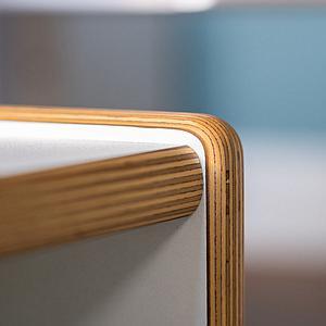 Wandelstuhl DECOR Debreuyn  - Multiplex weiß HPL   -  Sitzfläche gelb