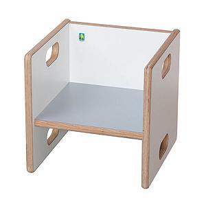 Wandelstuhl DECOR Debreuyn  - Multiplex weiß HPL   -  Sitzfläche grau