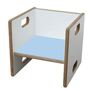 Wandelstuhl DECOR Debreuyn  - Multiplex weiß HPL   -  Sitzfläche hellblau
