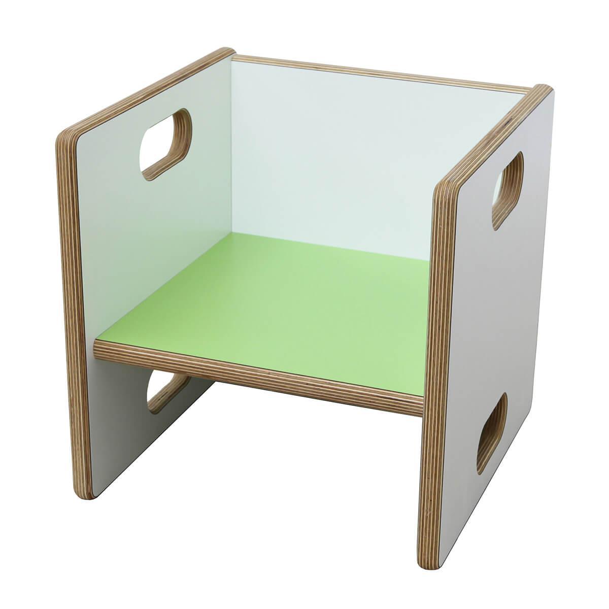 Wandelstuhl DECOR Debreuyn Multiplex weiß HPL - Sitzfläche lindgrün