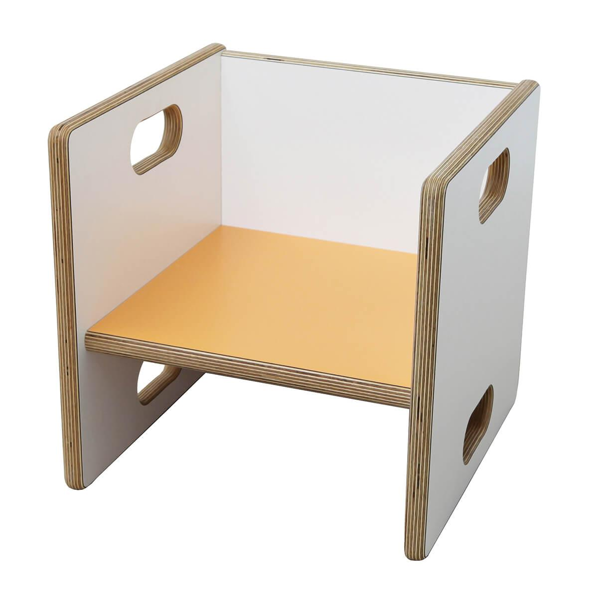 Wandelstuhl DECOR Debreuyn  - Multiplex weiß HPL   -  Sitzfläche orange