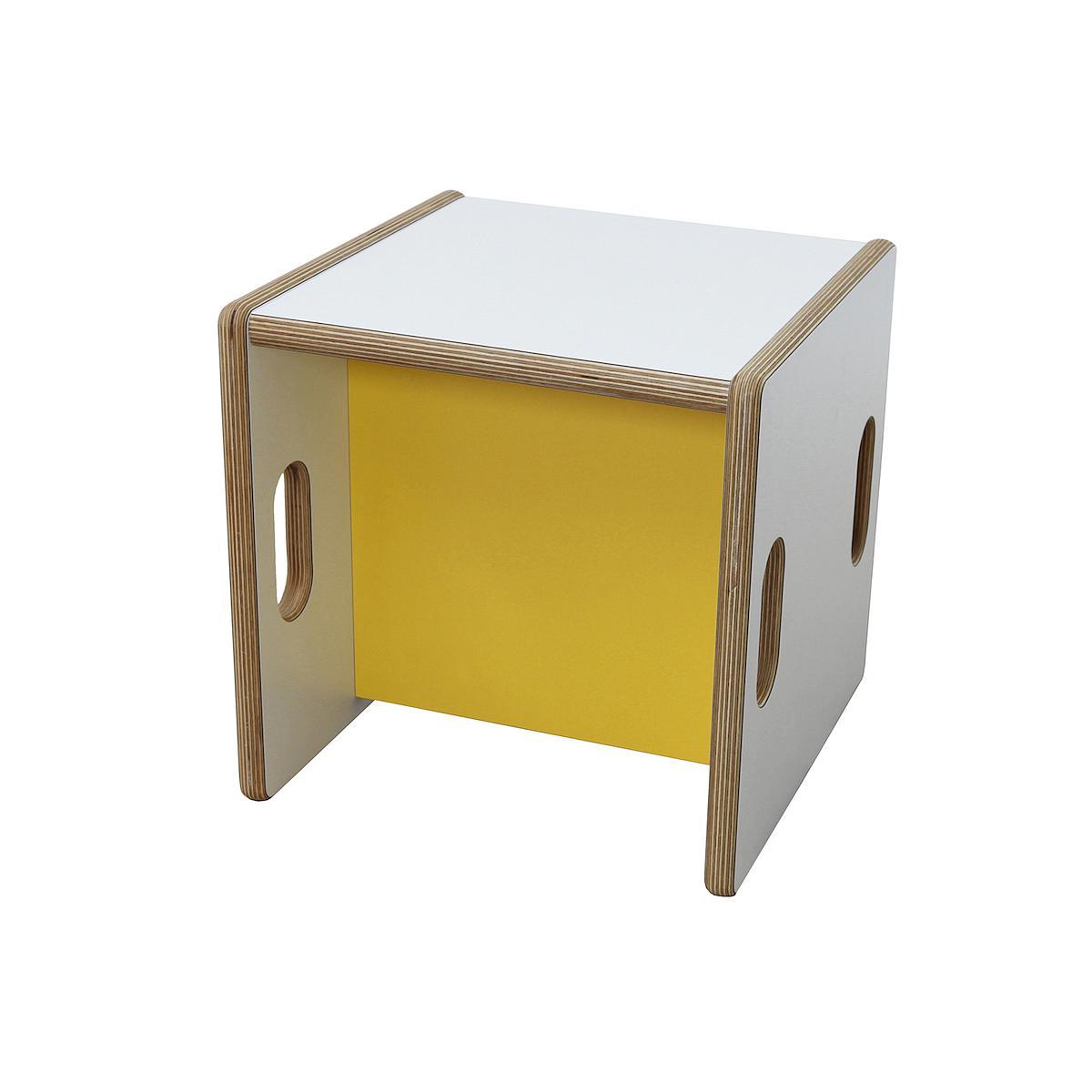 Wandelstuhl DECOR Debreuyn Multiplex-weiß Sitzfläche gelb - OHNE VERPACKUNG B 32 x H 32 x T 32 cm