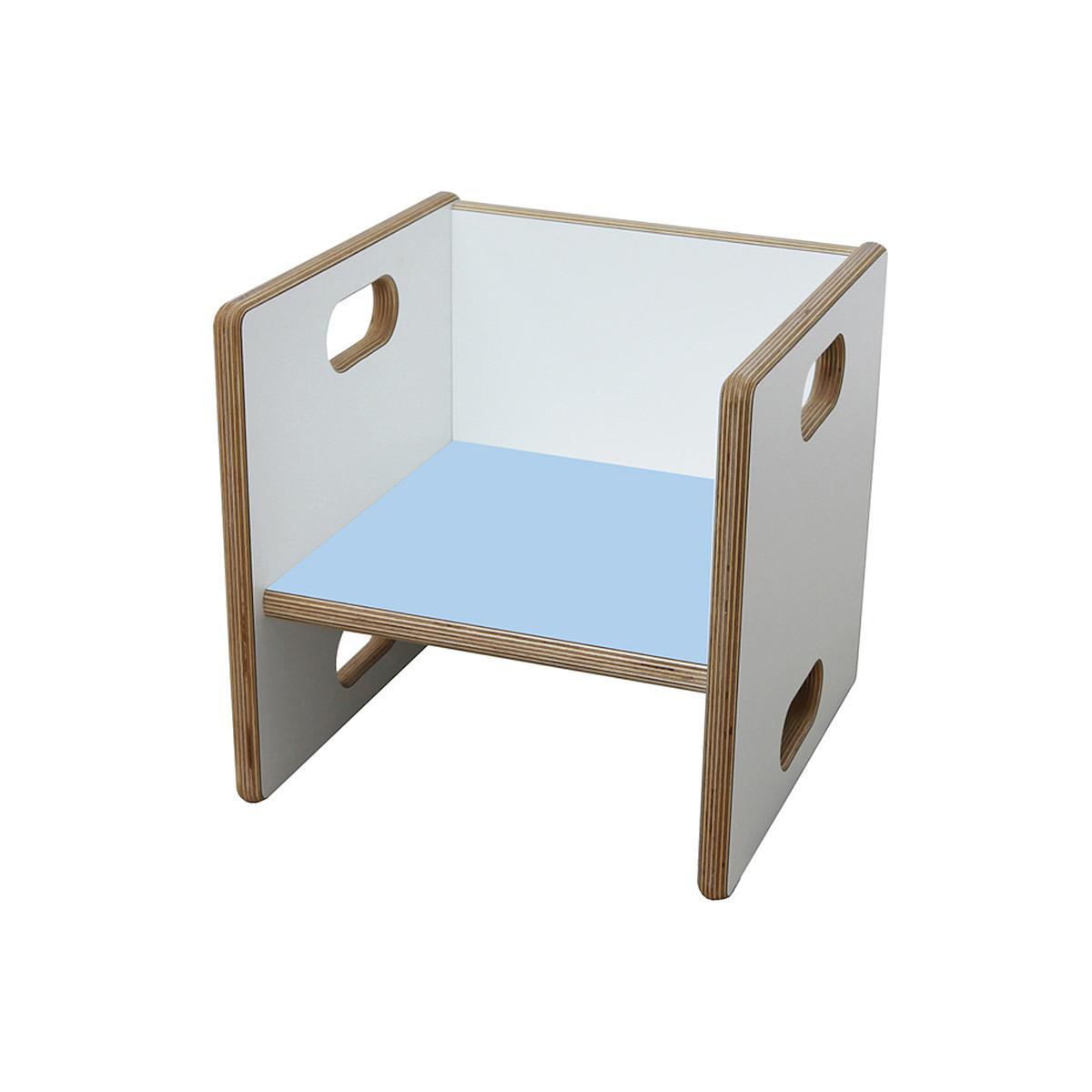 Wandelstuhl DECOR Debreuyn Multiplex-weiß Sitzfläche hellblau - OHNE VERPACKUNG B 32 x H 32 x T 32 cm