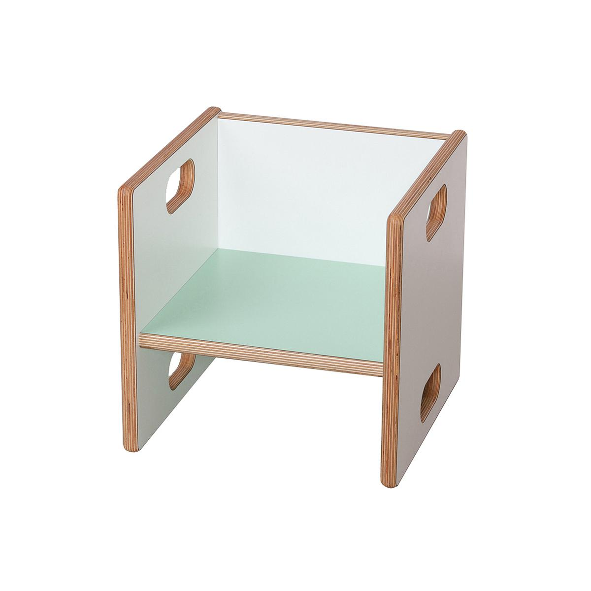 Wandelstuhl DECOR Debreuyn Multiplex-weiß Sitzfläche mint - OHNE VERPACKUNG B 32 x H 32 x T 32 cm