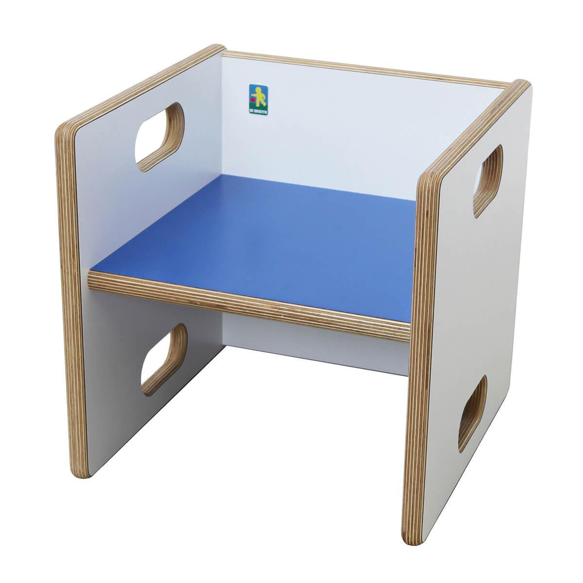 Wandelstuhl ZIGGY de Breuyn Multiplex weiß HPL - Sitzfläche dunkelblau