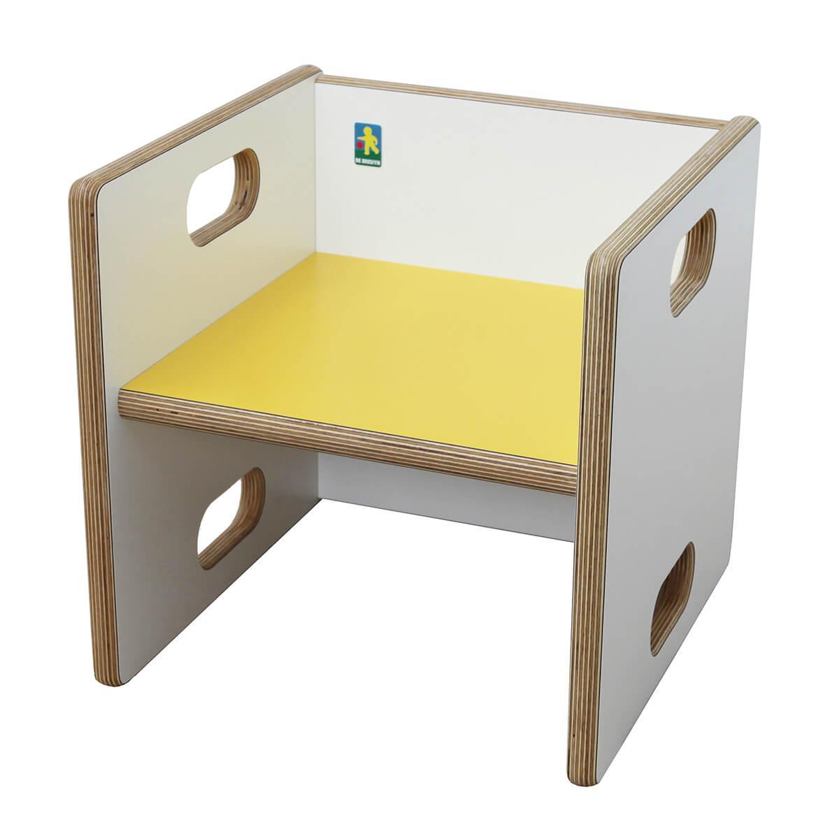 Wandelstuhl ZIGGY de Breuyn Multiplex weiß HPL - Sitzfläche gelb