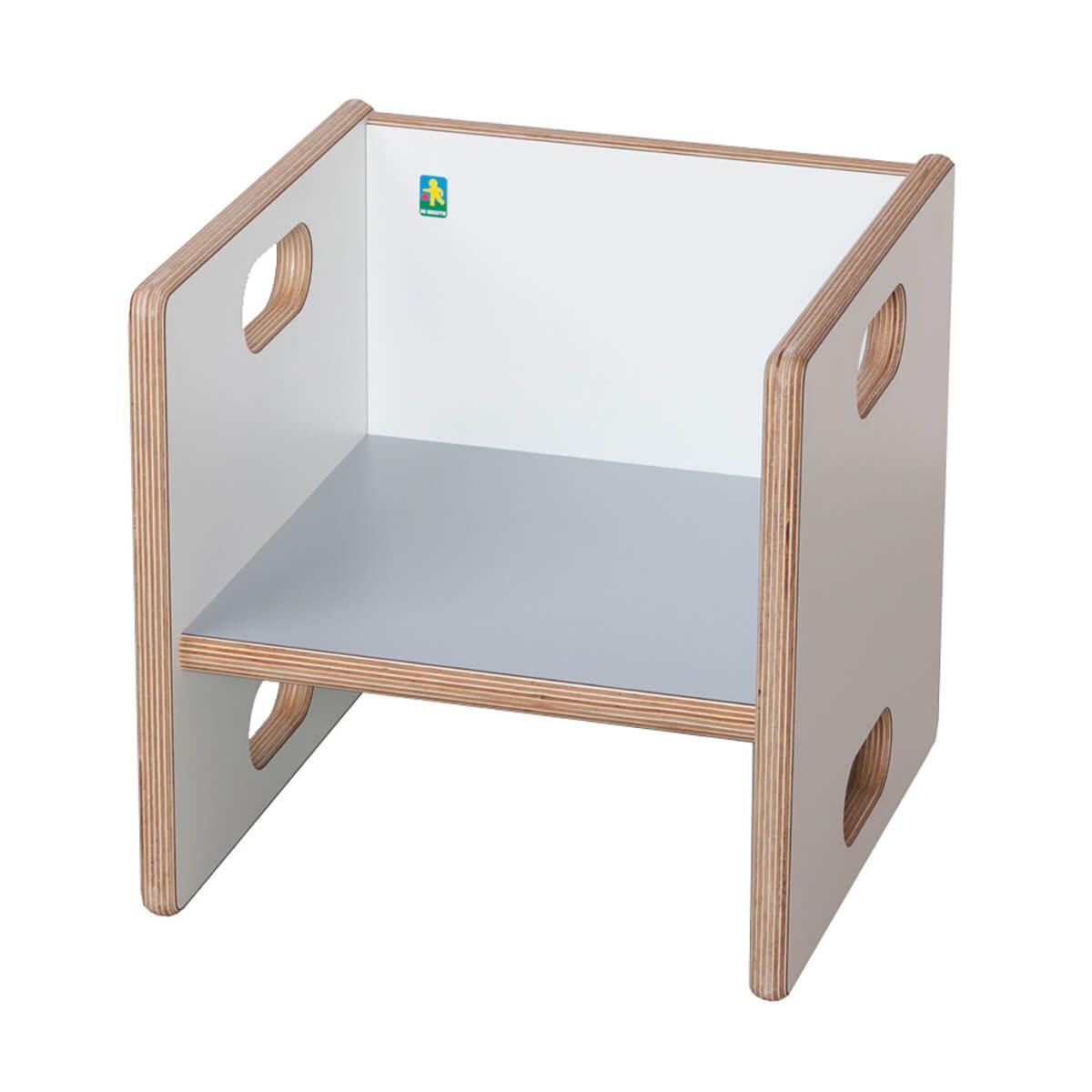 Wandelstuhl ZIGGY de Breuyn Multiplex weiß HPL - Sitzfläche grau
