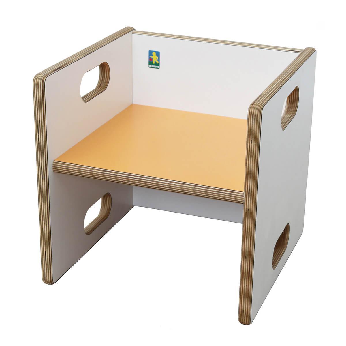 Wandelstuhl ZIGGY de Breuyn Multiplex weiß HPL - Sitzfläche orange
