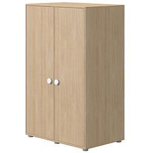 Wardrobe low 2 doors 138,2x87,5x56,5cm Oak F.Wht knob handle