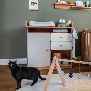 Wickelkommode ohne Türen DESTYLE Debreuyn Buchenfurnierte Spanplatte natur geölt